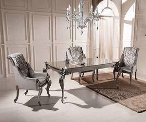 Mesa y sillones extensibles rectangulares, Mesa de comedor y sillones, precio outlet