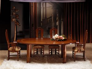 TA28 Zebrano mesa, Mesa ovalada con tapa de madera