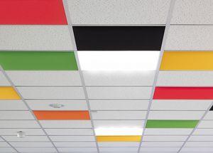 In, Paneles acústicos de colores para techo suspendido