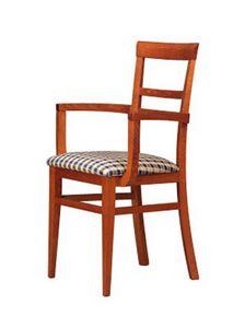 314 P, Silla de madera, asiento tapizado, para los hoteles