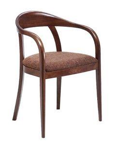 C27, Sillón de madera curvada con los brazos, tapizados y cubiertas de asiento de tela, para restaurantes y hoteles