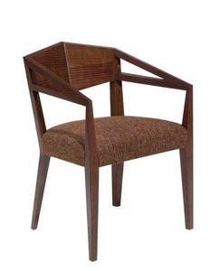 C32, Sillón con brazos de madera maciza, asiento tapizado, cubierta de tela, para restaurantes y bares