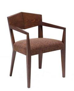 C34, Sillón de madera, asiento tapizado y revestimiento de tela, para hoteles y restaurantes