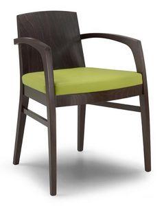 Ketty L, Silla moderna de madera maciza con espalda, para el uso del contrato