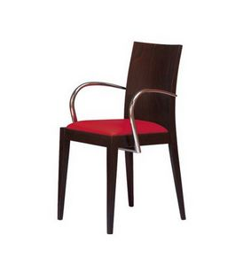 M09, Sillón de madera con brazos, asiento acolchado, para hoteles y restaurantes