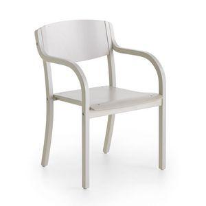 Marta 03 W, Silla de madera con brazos, minimalismo, comedor