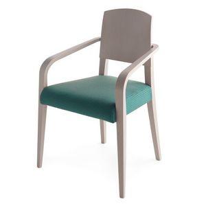 Piper 00821, Silla de madera maciza, asiento tapizado, cubierta de tela, estilo moderno