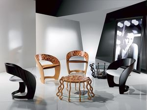 PO25 Arlecchino, Sillón en madera con asiento tapizado, con incrustaciones de mosaico
