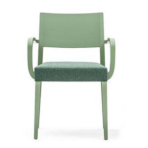 Sintesi 01523, Sillón de madera maciza con brazos, asiento tapizado, para entornos de contrato y domésticos