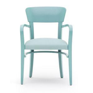 Steffy 00422, Sillón con brazos de madera maciza, asiento tapizado, por contrato y uso doméstico