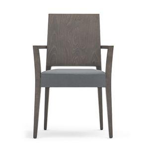 Timberly 01721, Silla apilable, estructura de madera maciza, asiento tapizado, que cubre con la tela, para los comedores