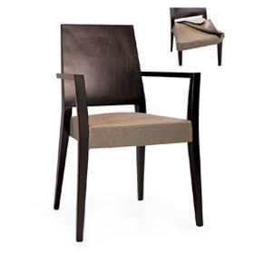 Timberly 01723, Sillón apilable con brazos, estructura de madera maciza, asiento tapizado, que cubre con la tela, para los comedores