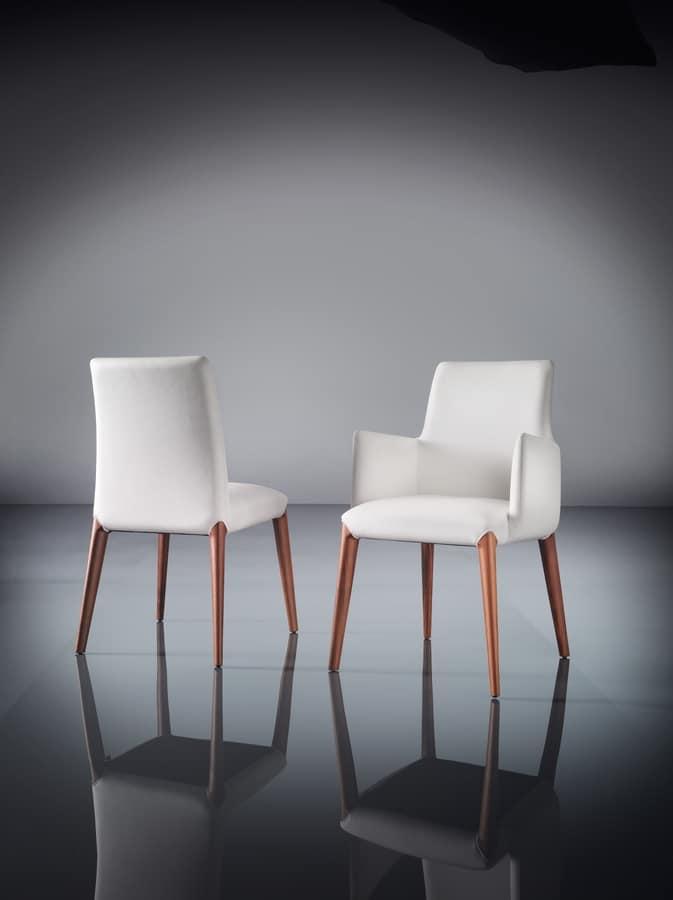 ART. 253/B INES, Pequeño sillón moderno, acolchados, patas de madera