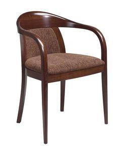 C25, Sillón de madera curvada con brazos, asiento y respaldo tapizados, tapicería de cuero, por contrato