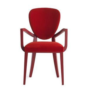 Cammeo 02621, Butaca en madera maciza, asiento y respaldo tapizados, revestimiento de tela, estilo moderno