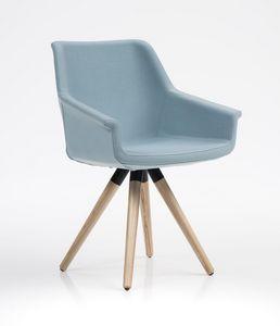 Dama, Elegante silla, base de madera, para oficinas y restaurantes