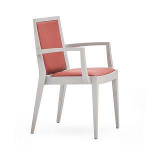 Flame 02121, Armchairwith brazos en madera maciza, asiento y respaldo tapizados, revestimiento de tela, estilo moderno