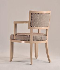 HOLLY sillón 8381A, Silla de madera de haya con brazos, acolchado, para cocinas