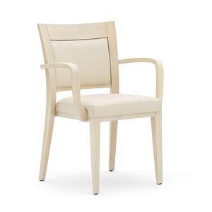 Logica 00927, Silla apilable, asiento y respaldo tapizados, estructura de madera, para el uso del contrato