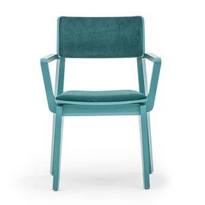 Offset 02823, Butaca en madera maciza, asiento y respaldo tapizados, con un estilo moderno.