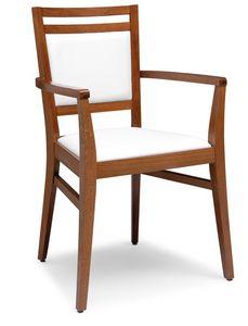 PL 4472 / CP, Sillón en madera, tapizado asiento y respaldo, para los restaurantes