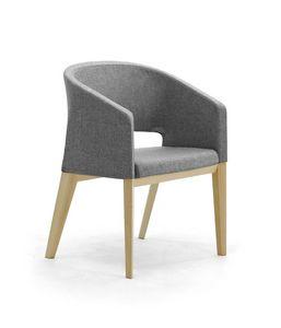 Reef 4G madera, Silla acolchada con patas de madera, en estilo minimalista