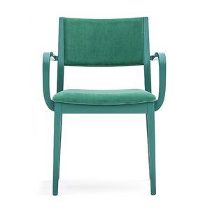 Sintesi 01522, Sillón de madera maciza con brazos, asiento y respaldo tapizados, para entornos domésticos contrato y