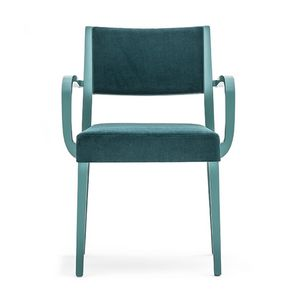 Sintesi 01524, Sillón de madera maciza con brazos, asiento y respaldo tapizados, para entornos domésticos contrato y