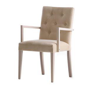 Zenith 01628, Sillón con brazos con estructura de madera, asiento y respaldo tapizados, capitonné espalda, para contrato y uso doméstico