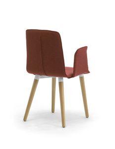 Zerosedici 4G madera, Silla moderna tapizada con patas cónicas de madera
