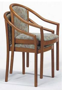 176, Silla con brazos, en madera de haya y apilables para restaurante