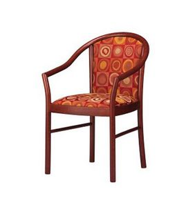 406, Silla elegante con los brazos, tapizado, en madera de haya