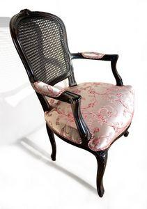 Art. 1430/CB sillón tallado, Sillón de salida con respaldo de paja de Viena.