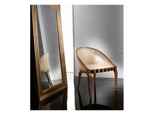 MIMI' armchair 8285A, Elegante sillón en madera de haya, con incrustaciones originales