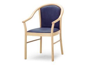 MT/14, Silla con brazos de madera, asiento y respaldo tapizados