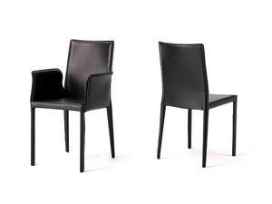 Anemone with armrests, Silla con asiento de cuero, para la habitaci�n del hotel