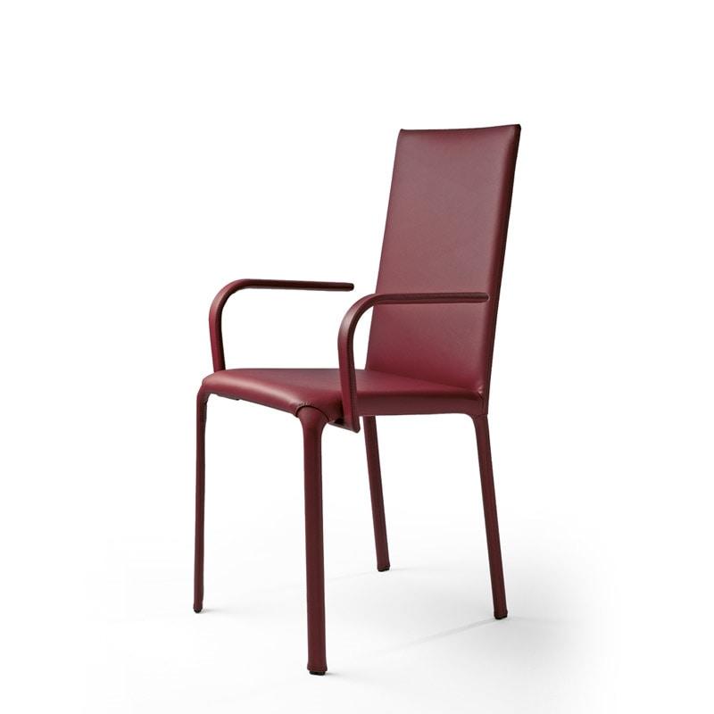 Jenia BR, Silla con brazos, asiento de cuero, para los hoteles