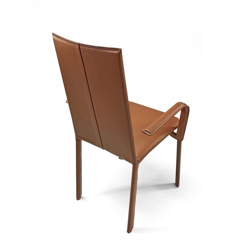 Jenia c/arm, Silla con brazos, asiento de cuero, para los hoteles