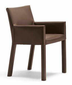 Trama silla 10.0183, Sillón pequeño y moderno tapizado en piel.