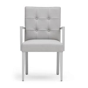 Zenith 01629, Sillón con brazos con estructura de madera, asiento y respaldo tapizados, capitonné espalda, para los comedores