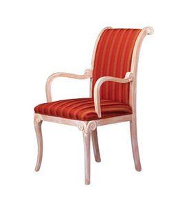 1091, Silla clásica con brazos, en madera de haya, para la sala de espera