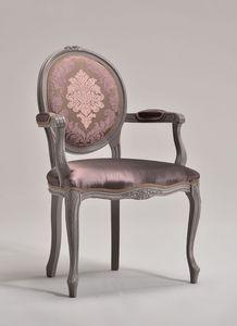 BRIANZOLA OVALE silla con apoyabrazos 8018A, Silla de estilo Luis XV, de nuevo oval, hoteles