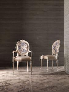 CARLA sillón 8662A, Silla con brazos, respaldo medallón, para muebles naval