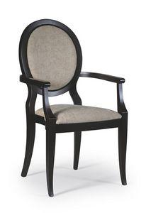 Cindy silla con brazos, Comer silla con apoyabrazos, de estilo clásico
