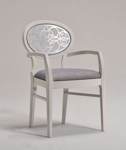 CLAIRE armchair 8391A, Sillón con la espalda ovalada tallada, de estilo clásico