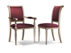 GABRY silla con apoyabrazos 8257A, Silla con brazos de madera de haya, acolchados, varios acabados