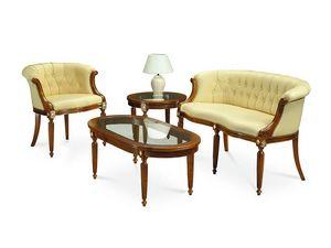 HILTON armchair 8118A, Sillón de estilo clásico, cubierto de cuero acolchado