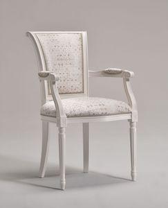 KELLY armchair 8021A, Sillón clásico estilo con apoyabrazos acolchados