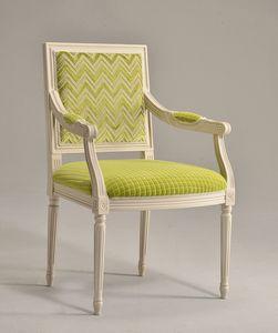 LUIGI XVI QUADRA armchair 8019A, Silla cabecera de la mesa, en madera maciza de haya, para los comedores
