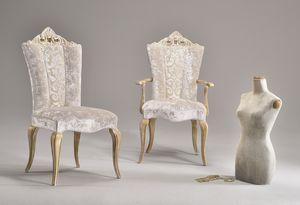 MISSIS silla 8619S, Silla de comedor, tapizados con telas elegantes, de estilo clásico